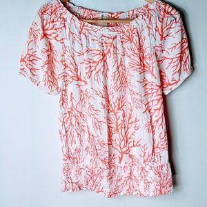 Michael Kors coral print blouse